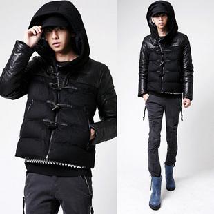 2012 male wadded jacket wool slim cotton-padded jacket patchwork men's clothing thin wadded jacket nick coat outerwear