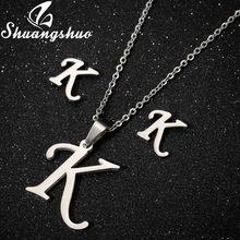 Shuangshuo נירוסטה שרשראות עגילי תכשיטי סטים לנשים ארוך שרשרת קולר עגילים לנכש תכשיטים(China)