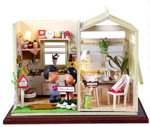 Christmas Gift Doll House Model Building Kits 3D Miniature Light Handmade Wooden Diy Dollhouse Toy Greatkive Gifts-Cozy Kitchen - BOA 's store