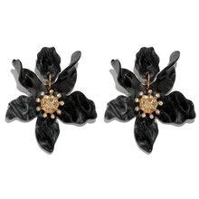 CWEEL Rot Acryl Ohrringe Für Frauen Hochzeit Partei Großen Tropfen Vintage Geometrische Boho Blume Ohrringe Modeschmuck Brincos(China)