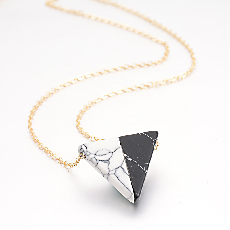 Female Jewelry 2016 Fashion Design White Black Faux Stone Pendant Necklaces Rectangle Triangle Geometric Necklace for Women(China (Mainland))