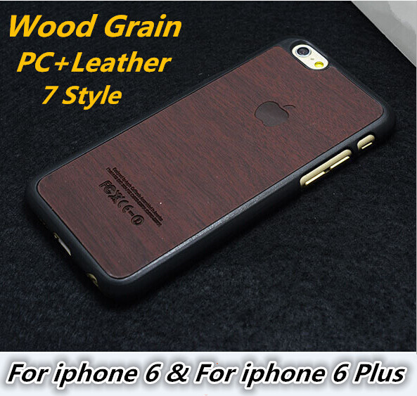 New Arrive! Wood Grain 4.7 Inch Case For iphone 6 Luxury PC Leather Hybrid Phone Back Cover 5.5 For iphone 6 P