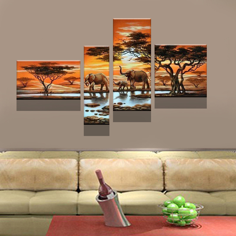 (no framed) hand-painted wall art Grassland elephants Decoration Modern Abstract landscape Oil Painting canvas 4pcs/set - Global village store