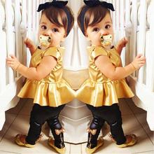 Summer Baby Girl Clothes Suits Kids Clothing Sets Short Sleeve Child Girl Shirt Dress+Legging Pants Shirt 2pc/Sets Roupa Bebes(China (Mainland))
