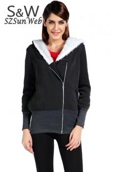 2015 Korea ladies Hoodie Coat Jacket Sweatshirts Warm Outerwear hooded Zip Cotton + Polyester Wholesale M L XL.XXL 34