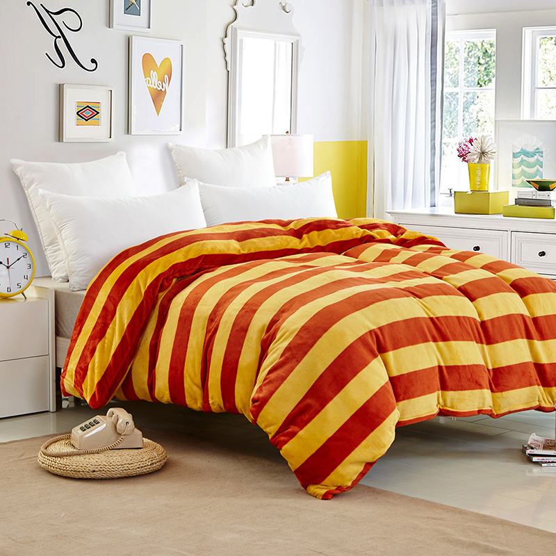 Housse de couette edredones colchas yellow and red bed cover striped comforte - Parure de lit 70x140 ...