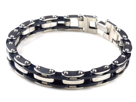 New-Men-s-High-Quality-Stainless-Steel-Bracelet-Silver-Link-Black-Rubber-Bangle