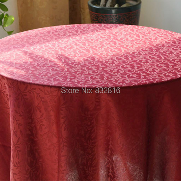 Cheap 100% Polyester Red Jacquard Table Linen Round Wedding Dining Table Cover Solid Party Table Cloth 180cm Round(China (Mainland))