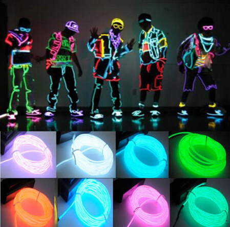 1M /2M /3M /5M Flexible Led Neon Light Glow EL Wire Rope Tube Cable+Battery Controller Water Resistant LED Light Free Shipping(China (Mainland))