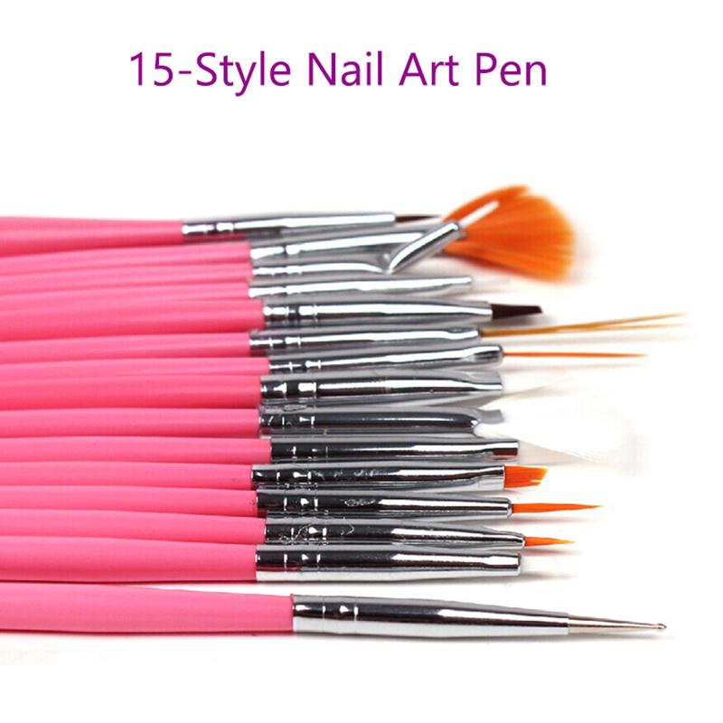 2017 New 4-Color 15pcs Nail Art Decorations Brush Set Tools Nail DIY Painting Pen False Nail Tips UV Nail Gel Polish Sale Gift