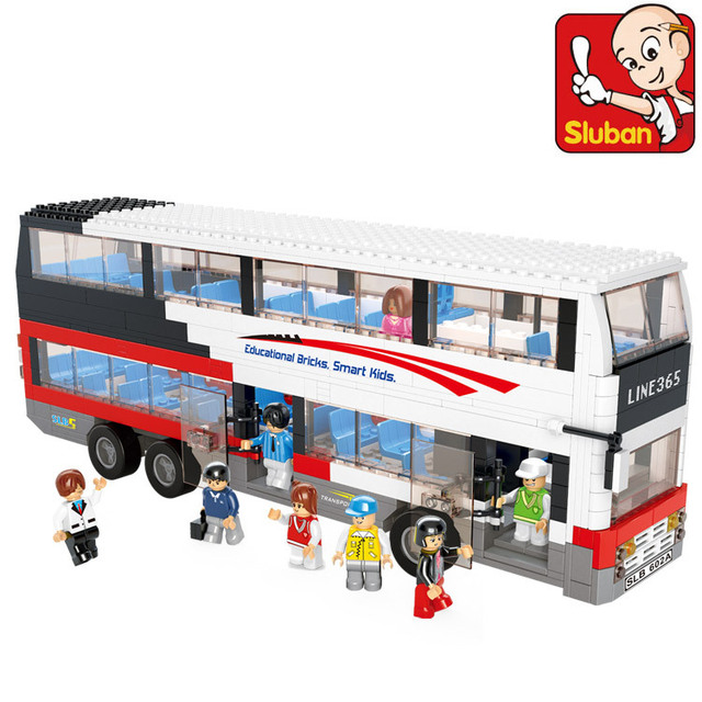 Sluban Building Block Toy City Double-Decker Bus Construction Sets DIY Educational Bricks Hot Toys for Children Christmas Gift