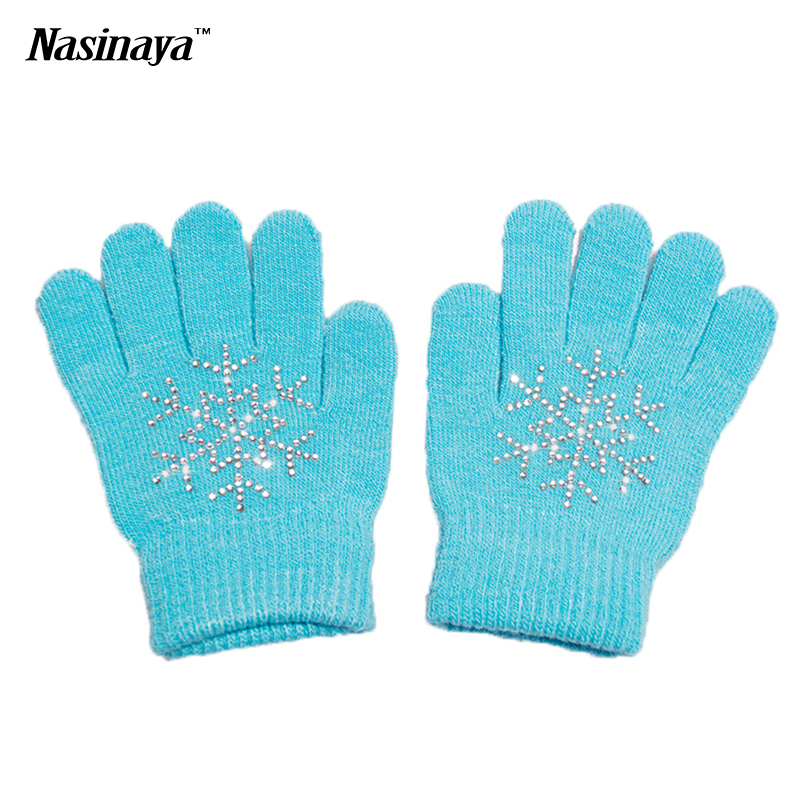 10 Colors Magic Wrist Gloves Figure Skating Ice Training Gloves Exquisite Warm Fleece Thermal Child Adult Snow Rhinestone(China (Mainland))