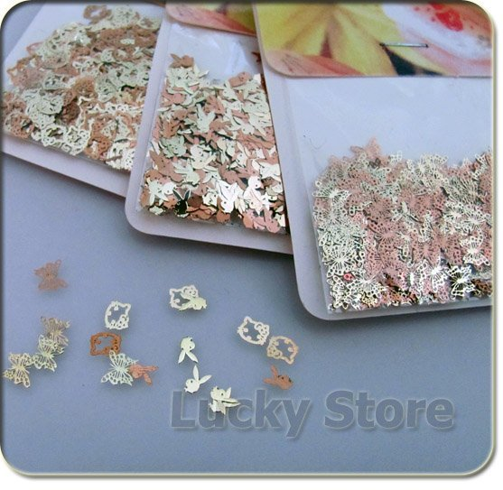 3 Mixed Design Golden Nail Art Decoration Acrylic Tips Metal Sticker 3packs/lot  Wholesale