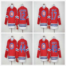 12 Kyle Schwarber 17 Kris Bryant 44 Anthony Rizzo 49 Jake Arrieta Long Sleeves Baseball Pullover Fashion Jersey(China (Mainland))