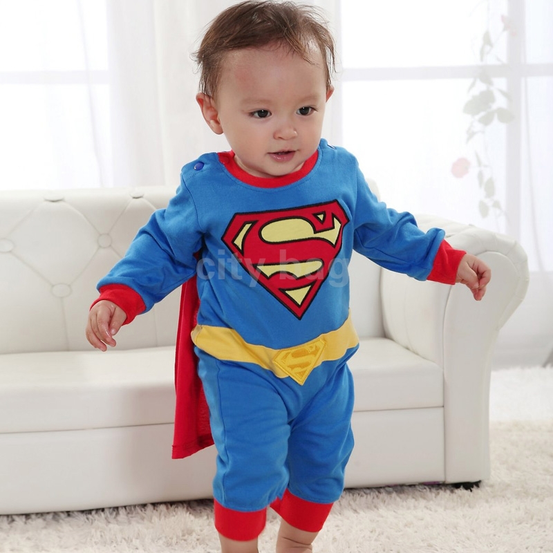 Baby Boy Halloween Jumpsuit Costume Kids Long Sleeve Superman Romper Clothing Gift SuperHero fantasias de festa Infantis - city bag store