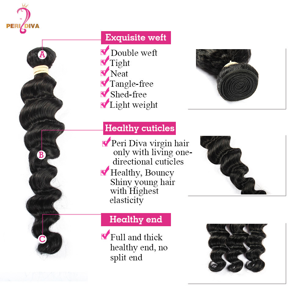 Brazilian Virgin Loose Wave Hair Bundles 4pc Lot Full Thick Loose Deep Wave Brazilian Human Hair Extension 7A Loose Wave Weave