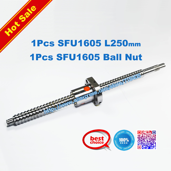 SFU1605 250mm RM1605 Rolled Ball screw 1pcs+ballnut + end machining BK/BF12 standard processing - NEW-EAST TRADE store