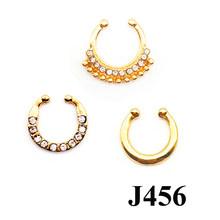 3 PCS הרבה קריסטל Clicker מזויף מחץ לנשים גוף קליפ חישוק בציר ססגוניות מזויף האף טבעת פו פירסינג גוף תכשיטים(China)