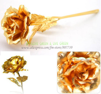 free shipping gift boxes 24K 999 gold foil roses flower the big size 25cm fully open rose Christmas Valentine necessary gift