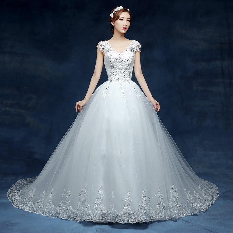 New style v neck glam brush train vestidos de novia for Beaded vintage style wedding dresses