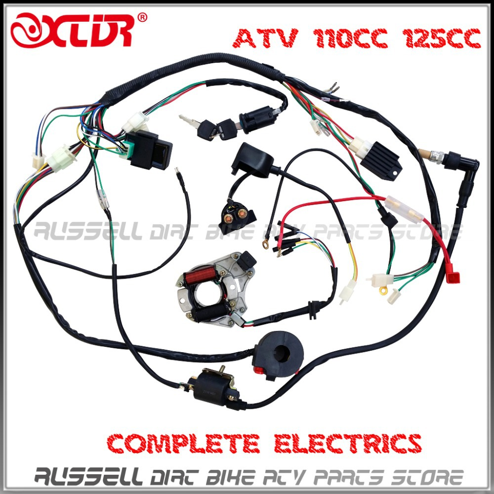 atv quad wiring harness 50cc 70cc 110cc 125cc ignition 2006 Chinese ATV Wiring Diagram Chinese 4 Wheeler Wiring Diagram