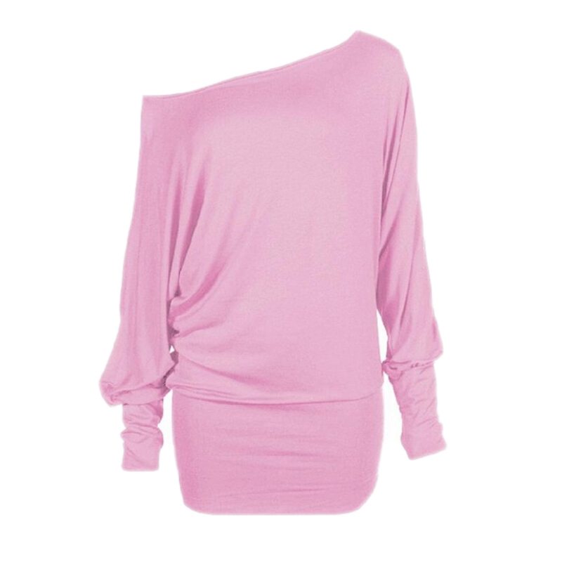 2015 New Arrival Women Basic Tops Long Sleeve Schulterfreies Einfach Batwing Top Black Pink Color J9487(China (Mainland))