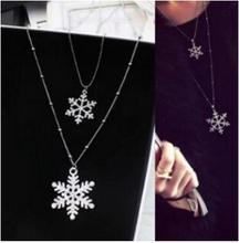 xl1039 2016 Christmas gift charm Imitation rhinestone necklace double pendants long necklaces for women snowflake jewelry(China (Mainland))