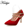 Sexy Pointed Toe Thin Heel women wedding shoes Plus size 30 47 fashion solid suede Mary