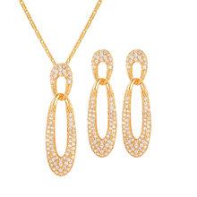 U7 Brautschmuck Sets Für Frauen Halskette Glänzenden Strass Schmuck Geschenk Silber/Gold Farbe Ohrringe Set Indische Schmuck S1020(China)