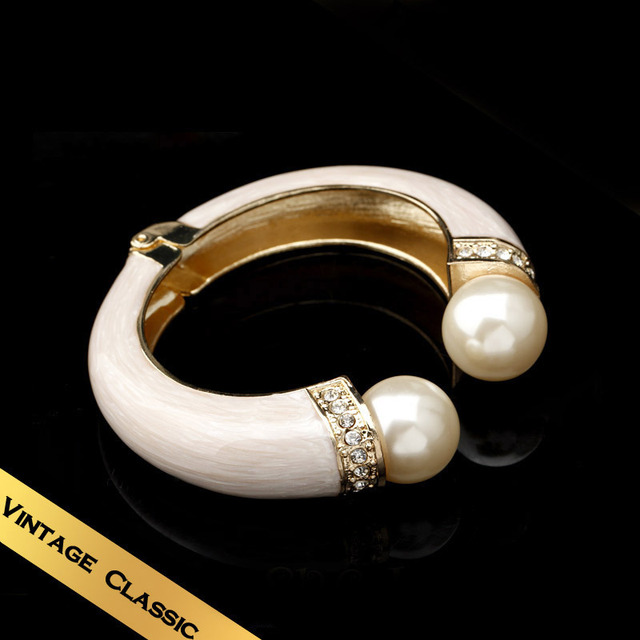 Special 2014 New Design  Bracelets & Bangles Handmade Enamel  Pearl Vintage Flowers Design Bracelets Free Shipping  SL141114