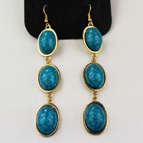 free shipping 6pairs/lot fashion jewelry metal vintage resin turquoise earrings(China (Mainland))