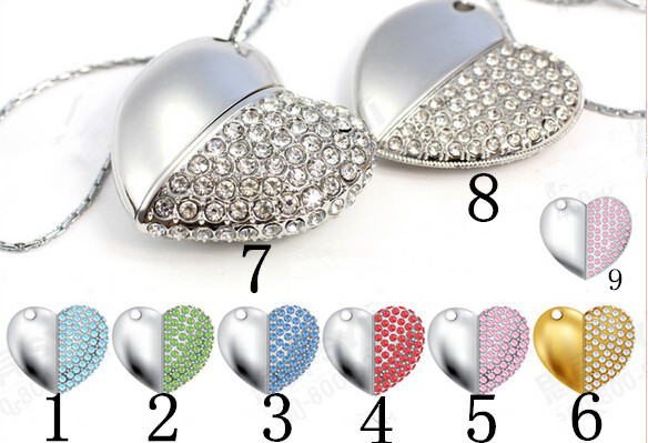 Drop+Free shipping New Crystal Hearts model usb 2.0 memory flash stick pendrive Can do custom logo(China (Mainland))