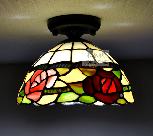 """Tiffany 8"""" Cloakroom Corridor Ceiling Light Free Shipping Classical Colored Glass Spliced Garden Balcony hallway Ceiling Light(China (Mainland))"""