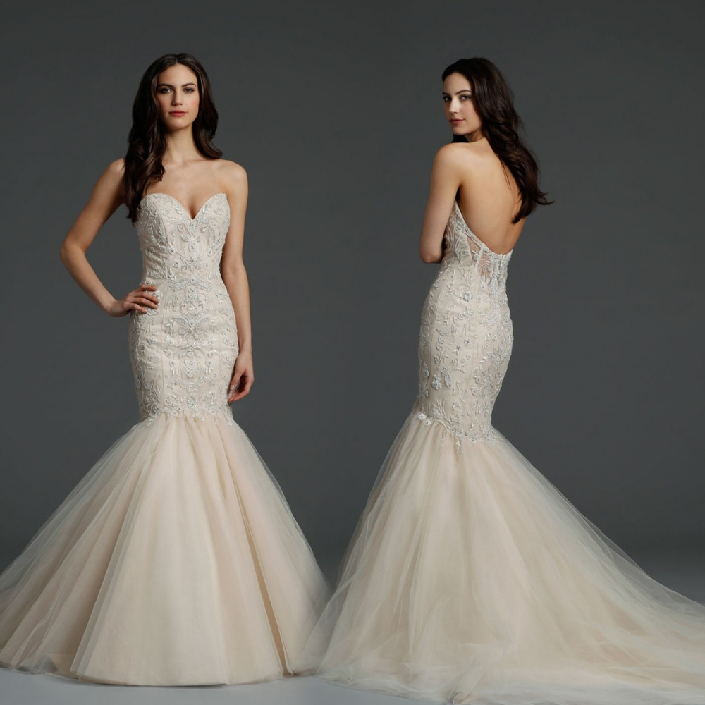 Glamorous mermaid wedding dress sweetheart sleeveless for Custom mermaid wedding dress