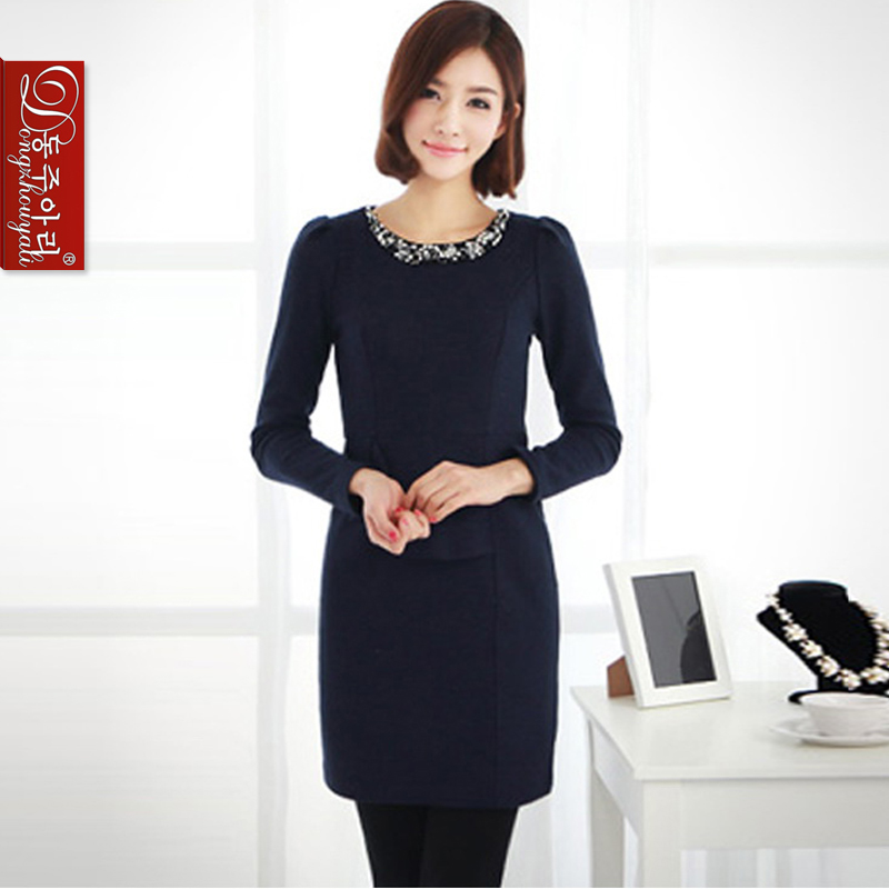 sale Autumn winter Plus size women's dresses lady's solid o-neck long-sleeve dress female woolen one-piece L1030 - Fashion and Romantic Store store