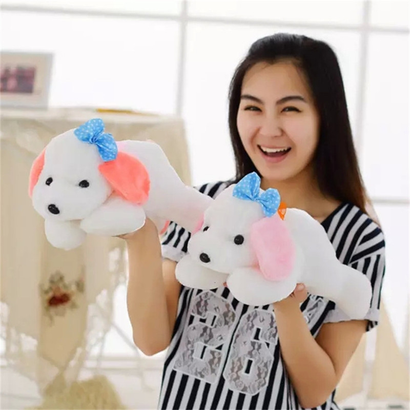 1pc 35cm Cute Plush Dog Soft Toy colorful ears Dog Birthday Gift for Kids Girlfriend company present(China (Mainland))