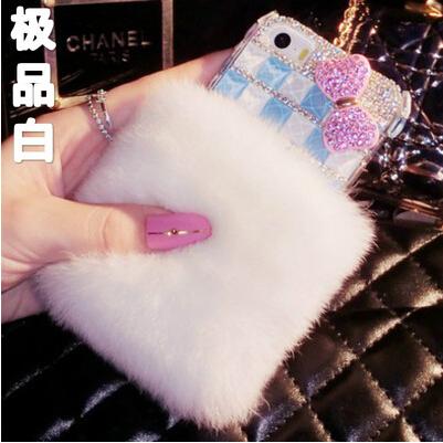 Rabbit hair Case For Samsung Galaxy S6 Edge Plus G9280 cover Top Quality Real Fur case Rhinestone Bling Plush Furry Hard Housing(China (Mainland))