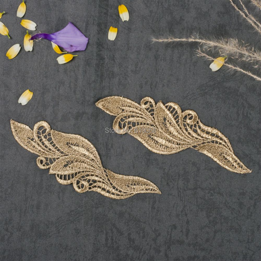 10 зеркало пара Вениз Леди платье шитье Золотой цветок Цветочный шнурок Урезает аппликация патч ЛП-JA26