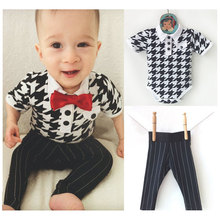 Summer Gentleman Boys Formal Dress Party Evening Costumes Set for Kids Body Suits Baby Boy Romper+Striped Trousers CF139(China (Mainland))