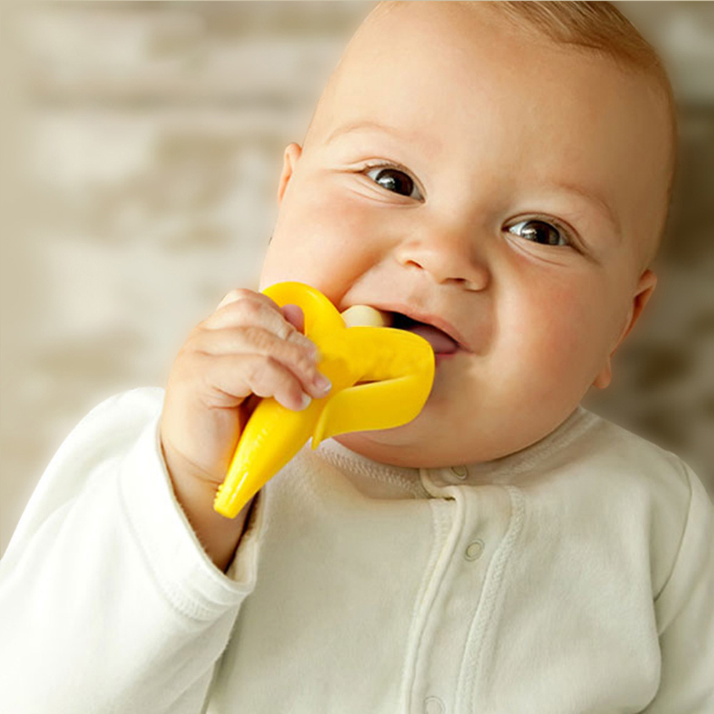 Infant Banana Toothbrush Environmentally Safe Silicon Bendable Toddler Baby Massager Teether Ring Training Tooth Brush BB0022(China (Mainland))