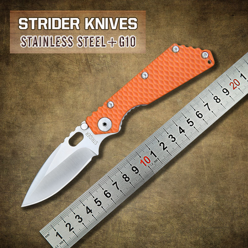 Free Shipping New Tactical Survival Folding Knife Strider Custom SMF Black G10 Handle MSC Stainless Steel Blade Best quality(China (Mainland))
