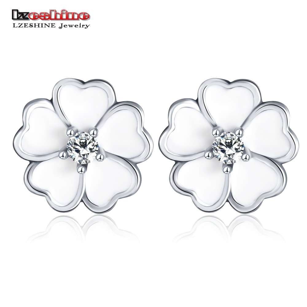 LZESHINE New Earrings Stud White Enamle Flower Shape 925 Sterling Silver AAA Crystal Fashion Earrings Factory Price PSER0012(China (Mainland))