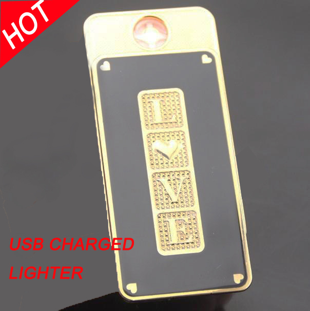 Creative metal LOVE USB rechargeable electronic cigarette lighter,Men's smoking lighter - Jingzhu Co.,Ltd. Store store