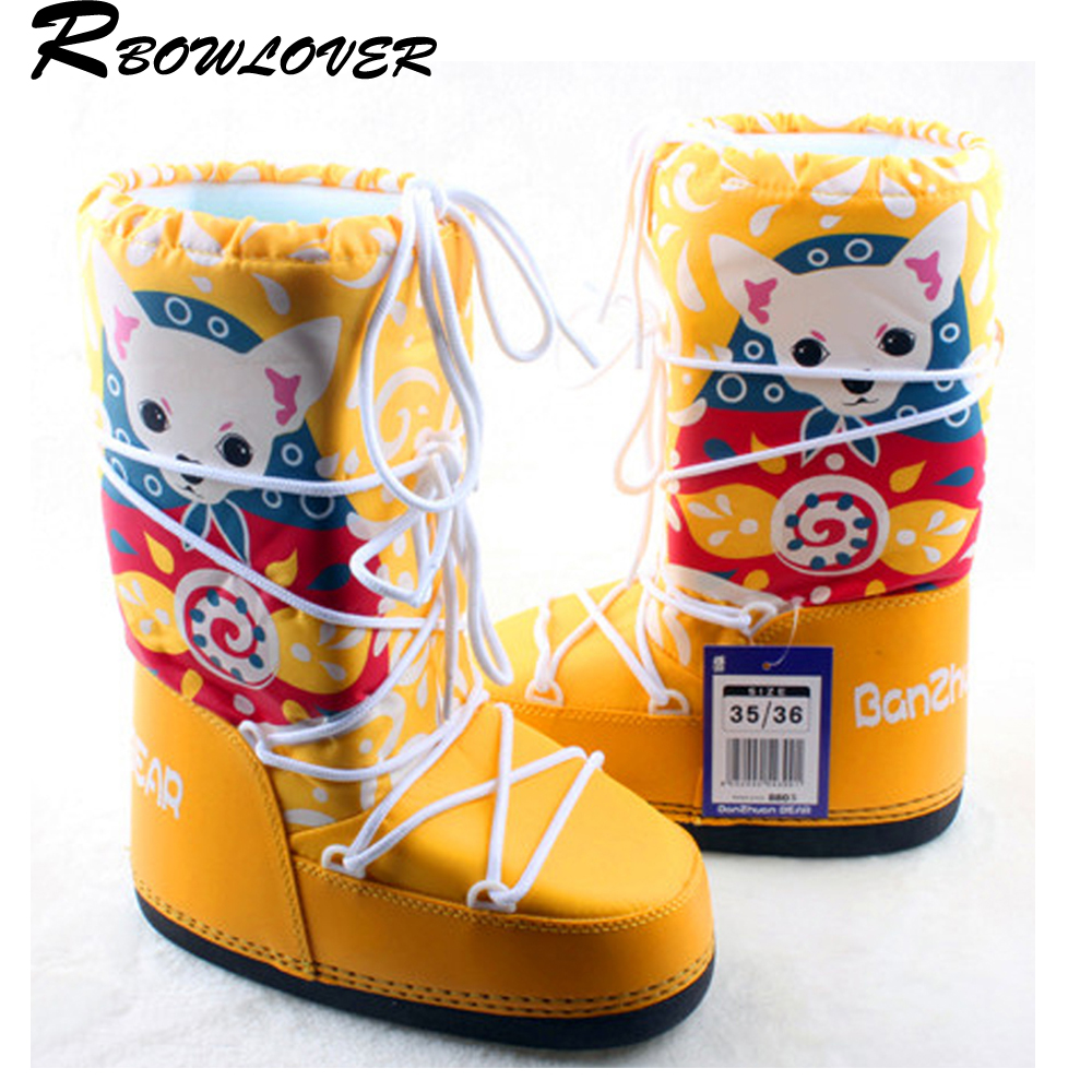 RBOWLOVER 2016 Christmas Winter Women Goat Moon Boots Newest Hot Selling Fashion Snow Boots No-Slip Lace-Up Ski Boots Big Size(China (Mainland))