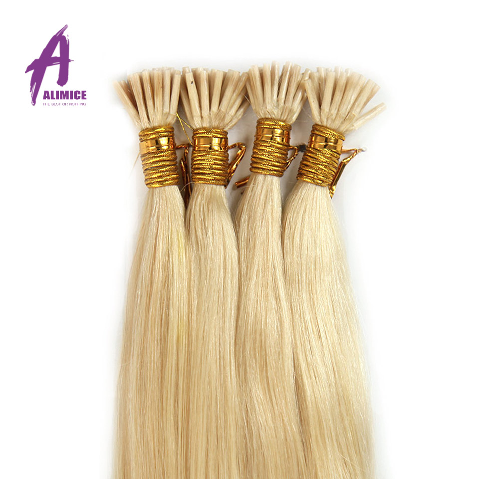 Alimice Grade 6a Natural Straight I Tip Fusion Hair Extensions 0.5Gram Each Strand Remy Human Hair 18-24 Can Be Customized<br><br>Aliexpress