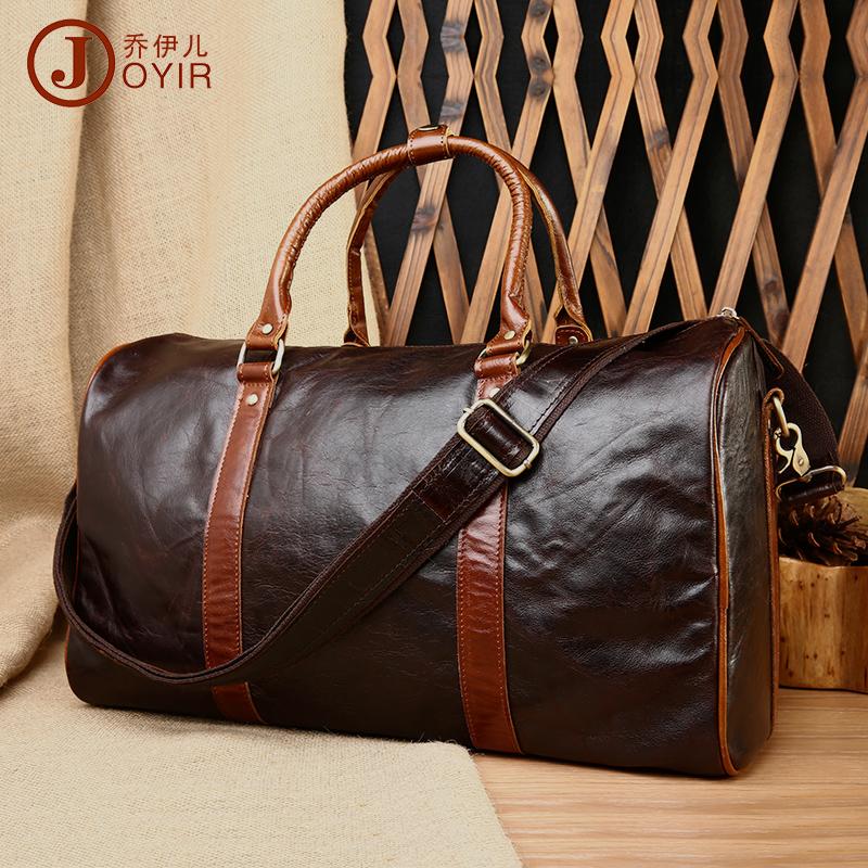 Vintage 100% Genuine Oil Wax Cowhide Leather Large Capacity Men Travel Duffle Handbag Shoulder Messenger Luggage Bag Bags Man