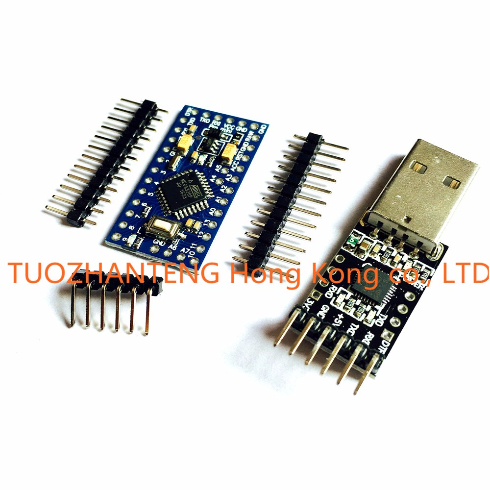 Free Shipping 1pcs 6pin CP2102 Module + 1PCS Pro Mini Module Atmega328 5V 16M For Arduino Compatible With Nano