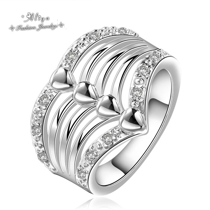 2016 Hot Sale Fashion brand jewelry personality fashion magazine crystal Wedding/Engagement silver ring for women Free Shipping(China (Mainland))