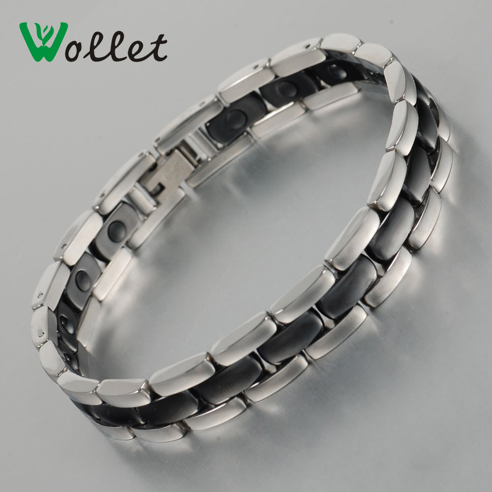 Wollet Jewelry Gifts For Valentine's Day Tourmaline Health Bracelet Magnetic Germanium Black Ceramic Stainless Steel Bracelets(China (Mainland))