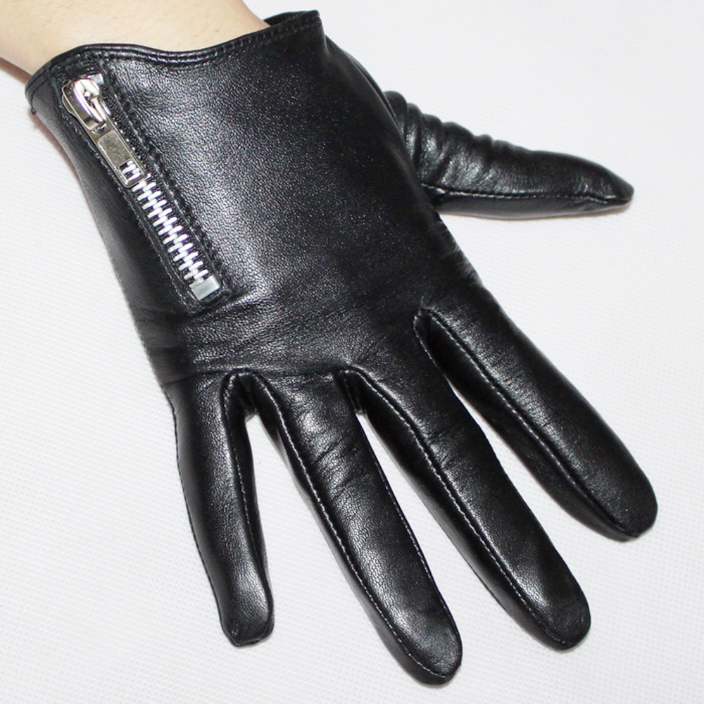 2016 fashion Women new dress party Christmas gift model show oblique zipper sheepskin genuine leather gloves winter - St.Susana Official Store store
